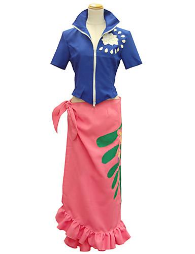 baratos Cosplay Anime-Inspirado por One Piece Nico Robin Anime Fantasias de Cosplay Ternos de Cosplay Estampado Manga Curta Blusa / Saia Para Mulheres Trajes da Noite das Bruxas