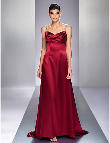 A-Line Straps Sweep / Brush Train Stretch Satin Formal Evening Military Ball Dress with Beading by TS Couture®