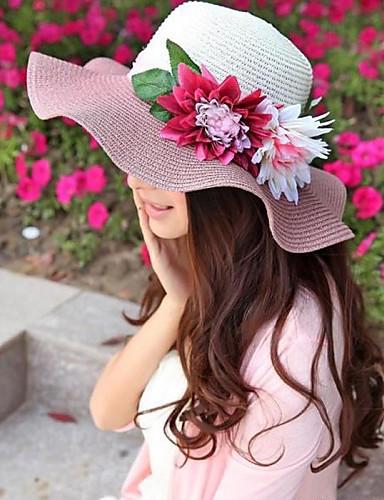 Women's Straw Sun Hat, Casual Summer Orange Beige Blue Pink Watermelon