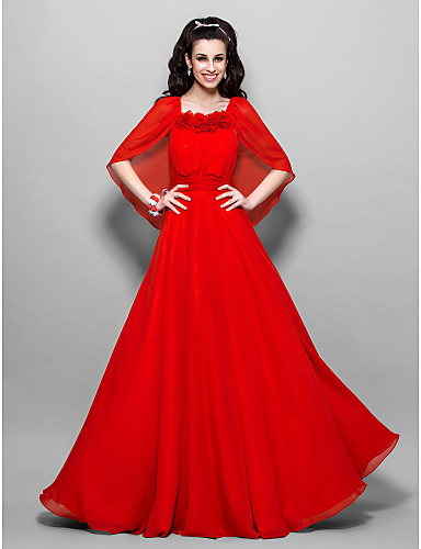 A-Line Square Neck Ankle Length Chiffon Prom Formal Evening Military Ball Dress with Flower Ruched by TS Couture®