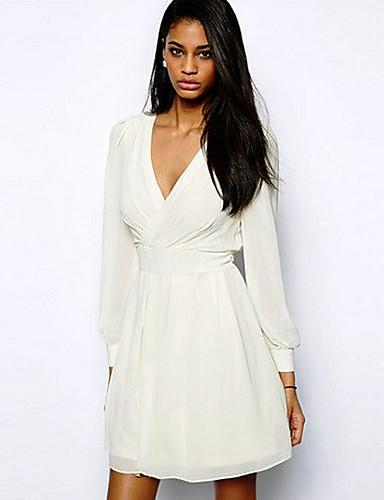 Dexon varor kvinnors v ringad chiffong hög midja långärmad vit klänning  1233177 2019 –  12.59 3be176f46569e
