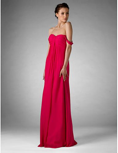 Ίσια Γραμμή Ώμοι Έξω / Καρδιά Μακρύ Σιφόν Φόρεμα Παρανύμφων με Που καλύπτει / Πιασίματα με LAN TING BRIDE®
