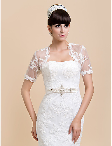 f467a134672ac Short Sleeve Lace Wedding / Party Evening / Casual Wedding Wraps With Shrugs