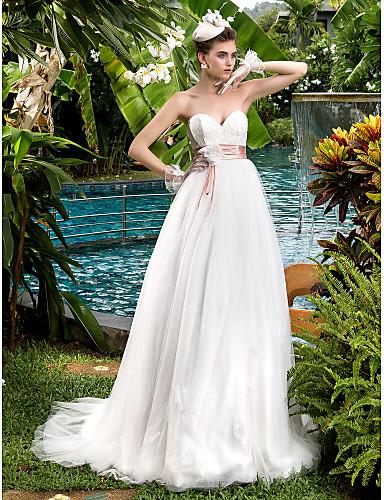 d83037bcce99 Γραμμή Α Καρδιά Ουρά Δαντέλα   Τούλι Φορέματα γάμου φτιαγμένα στο μέτρο με  Φιόγκος   Χάντρες