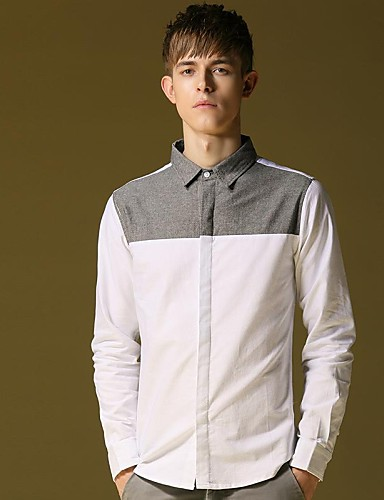 Men's Solid Casual Shirt,Cotton Long Sleeve