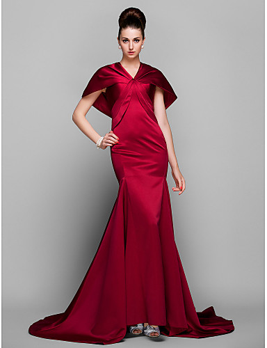Mermaid / Trumpet V-neck Court Train Satin Formal Evening Dress with Side Draping by TS Couture®