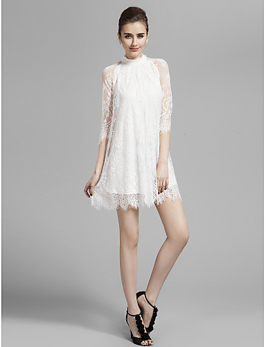 A-Line High Neck Short / Mini Lace Cocktail Party Homecoming Prom Holiday Dress with Lace Pleats by TS Couture®