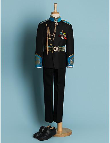 Černá Polyester Oblek pro mládence - 4 Obsahuje Sako pas Tričko Kalhoty
