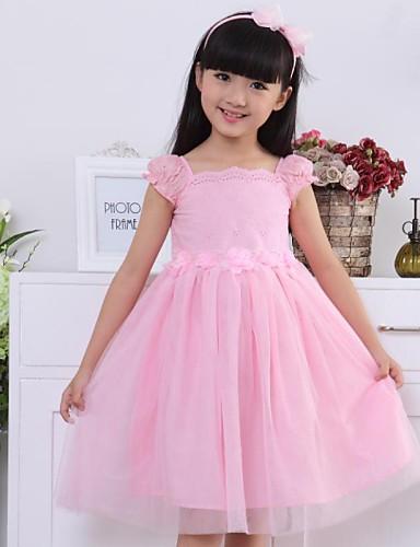 Tinta Unita Manica Corta Cotone Vestito Rosa #01663667 Aspetto Elegante