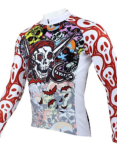 cheap Cycling Clothing-ILPALADINO Men's Long Sleeve Cycling Jersey Red and White Skull Bike Jersey Top Thermal / Warm Breathable Quick Dry Sports Polyester 100% Polyester Mountain Bike MTB Road Bike Cycling Clothing Apparel