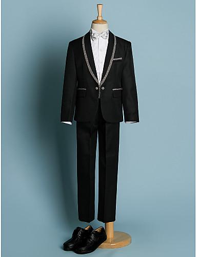 Ivoriu Negru Poliester Costum Cavaler Inele - 5 Include Jacketă Brâu Cămașă Pantaloni Papion