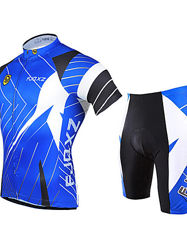 cheap Cycling Clothing-FJQXZ Men's Short Sleeve Cycling Jersey with Shorts - Blue Bike Clothing Suit Breathable 3D Pad Quick Dry Ultraviolet Resistant Sports Polyester Patchwork Mountain Bike MTB Road Bike Cycling Clothing