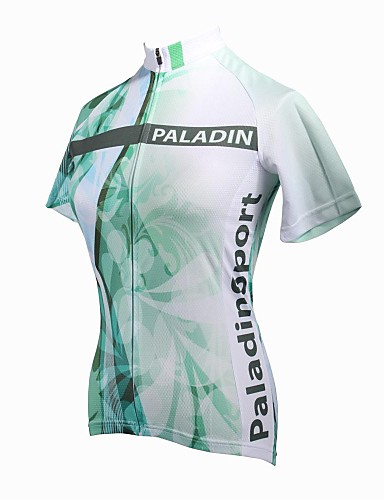 ILPALADINO Women s Short Sleeve Cycling Jersey - Green Floral   Botanical  Plus Size Bike Jersey Top Breathable Quick Dry Ultraviolet Resistant Sports  100% ... 5731a1313