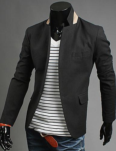 82efc2617f férfi alkalmi egyetlen kapocs öltöny zakó (fehér, fekete, narancssárga, kék)