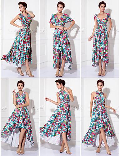 Eng anliegend V-Ausschnitt Asymmetrisch Gestrickt Wandelbare Kleider Abiball / Formeller Abend Kleid mit Muster / Druck / Plissee durch TS Couture®