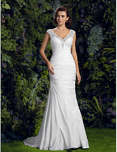 Mermaid / Trumpet V Neck Court Train Charmeuse / Beaded Lace Made-To-Measure Wedding Dresses with Beading / Appliques / Button by LAN