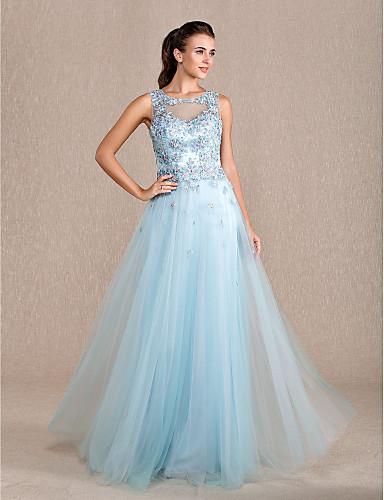 ead2c6f76ec Formal Evening   Prom   Military Ball Dress - Sky Blue Plus Sizes   Petite  Sheath Column Jewel Floor-length Tulle 1941485 2019 –  169.99