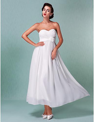 Sheath / Column Sweetheart Ankle Length Chiffon Custom Wedding Dresses with Sash / Ribbon Criss-Cross Flower by LAN TING BRIDE®