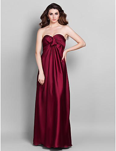 Sheath / Column Sweetheart Floor Length Stretch Satin Bridesmaid Dress with Beading Flower(s) Side Draping by LAN TING BRIDE®