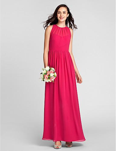 Ίσια Γραμμή Με Κόσμημα Μακρύ Σιφόν Φόρεμα Παρανύμφων με Που καλύπτει με LAN TING BRIDE®