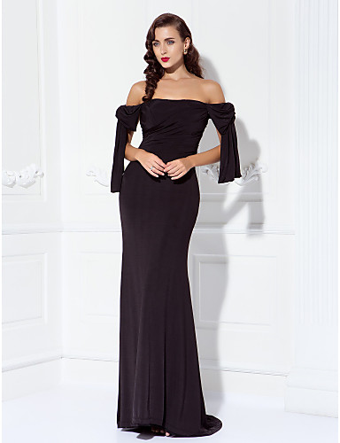 Sheath / Column Off Shoulder Sweep / Brush Train Jersey Prom / Formal Evening / Military Ball Dress with Side Draping by TS Couture®