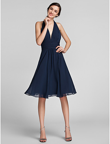 Sheath / Column Halter Neck Knee Length Chiffon / Satin Bridesmaid Dress with Draping / Ruched by LAN TING BRIDE® / Beautiful Back