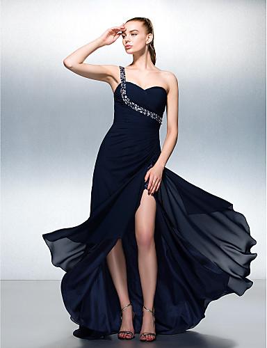 A-line одно плечо sweep / щетка поезда шифоновое платье выпускного вечера с бисером ts couture®
