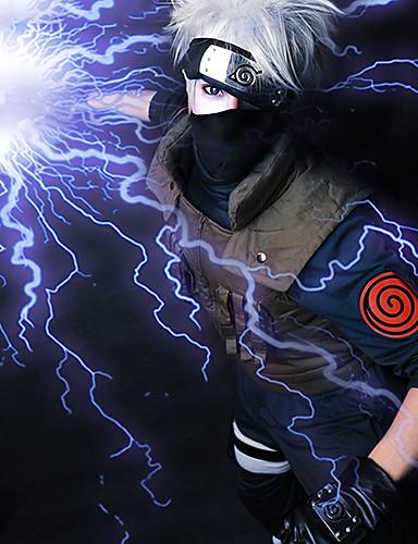 voordelige Cosplay & Kostuums-Naruto Hatake Kakashi Heren 14 inch(es) Hittebestendige vezel Grijs Anime Cosplaypruiken