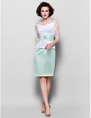 Sütun V Yaka Diz Boyu Dantelalar Saten Fiyonk Kristal Broş Haç ile Gelin Annesi Elbisesi tarafından LAN TING BRIDE®