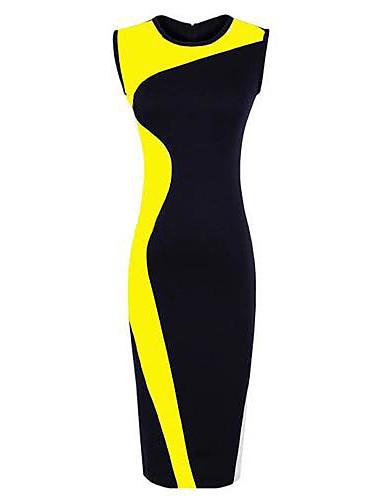 femei bloc de culoare rochie creion, echipajul necksleeveless