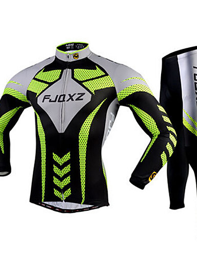 cheap Cycling Clothing-FJQXZ Men's Long Sleeve Cycling Jersey with Tights - Green Stripes Bike Tights Clothing Suit Breathable 3D Pad Quick Dry Ultraviolet Resistant Sports Polyester Mesh Stripes Mountain Bike MTB Road