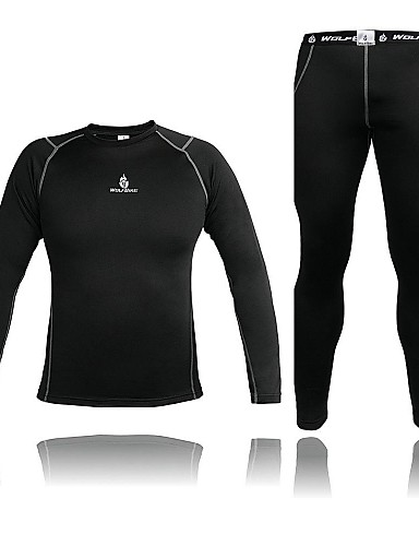 cheap Cycling Clothing-WOLFBIKE Men's Long Sleeve Cycling Jersey with Tights - Black Bike Clothing Suit Thermal / Warm Winter Sports Spandex Fleece Solid Colored Clothing Apparel / Stretchy