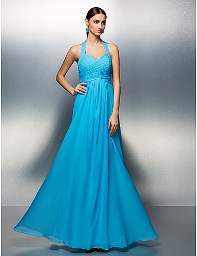 A-Line Halter Neck Floor Length Chiffon Bridesmaid Dress with Sash / Ribbon / Criss Cross / Ruched by LAN TING BRIDE® / Open Back