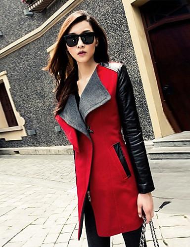 Rigoroso Per Donna Moderno Cappotto, Monocolore Cotone Organicp - Licra Moderno Nero - Rosso #02269997