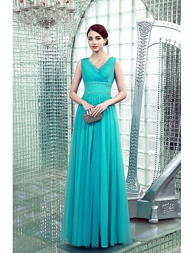 Sheath / Column V-neck Floor Length Chiffon Formal Evening Dress with Beading Side Draping by TS Couture®