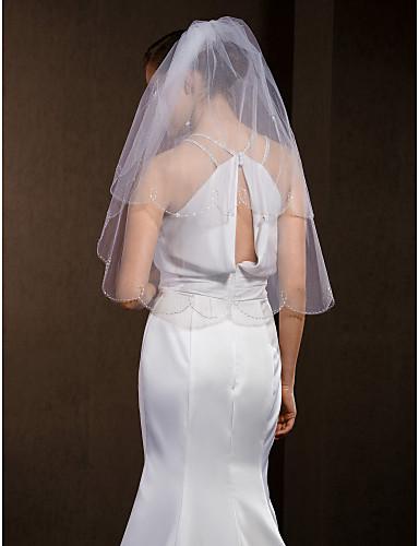 Menyasszonyi fátyol Kétkapcsos Ujjakig érő fátyol Gyöngydíszítésű szegély 55,12 hüvelyk (140 cm) Tüll Fehér Elefántcsontszín