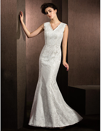 Mermaid / Trumpet V-neck Sweep / Brush Train Lace Wedding Dress with Lace by LAN TING BRIDE®
