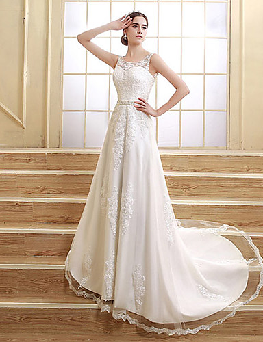 A-Line Jewel Neck Court Train Satin Tulle Wedding Dress with Beading Appliques by Sarahbridal