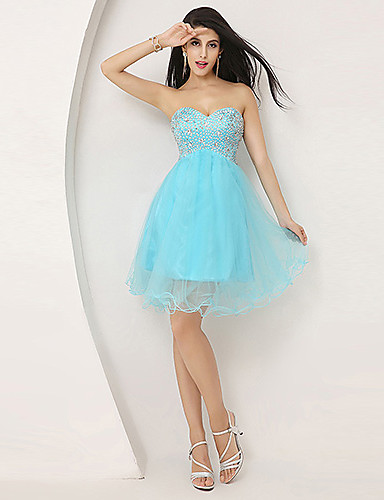 A-Line Sweetheart Knee Length Tulle Cocktail Party Homecoming Dress with Beading by Sarahbridal