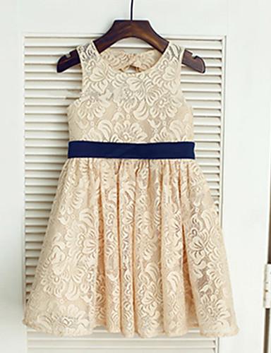 A-vonalú Tea-hossz Virágoslány ruha - Csipke Ujjatlan Ékszer val vel Csokor által LAN TING BRIDE®