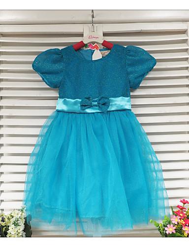 Kız Solid Pamuk Karışımı Yaz Elbise