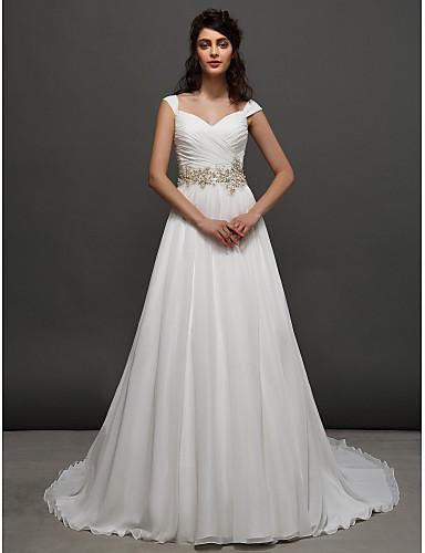 A-Line Princess Straps Chapel Train Chiffon Wedding Dress with Beading Sash / Ribbon Criss-Cross Ruche by LAN TING BRIDE®