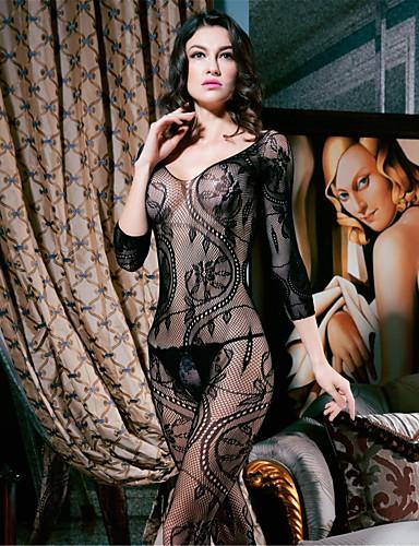 Δαντελωτό Εσώρουχο Σούπερ Σέξι Πυτζάμες Γυναικεία Μονόχρωμο Νάιλον Spandex Μαύρο