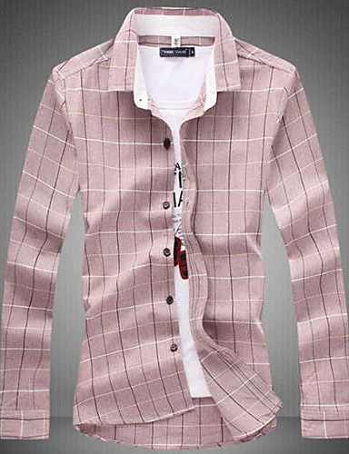 Men's Plaids Casual / Plus Sizes Shirt,Cotton Blend Long Sleeve Pink / Gray