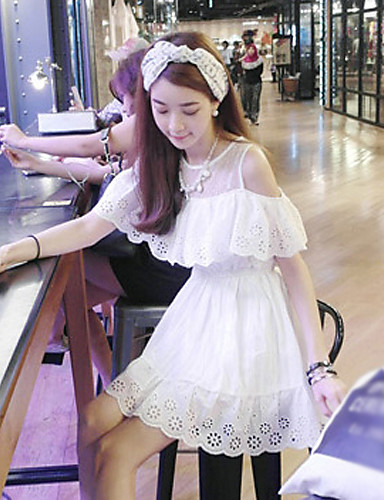 mscoo δαντέλα βαμβάκι φρέσκο γλυκό κολεγιακά chic λωτού άκρη των φύλλων φθάνοντας φόρεμα φθάνοντας φόρεμα