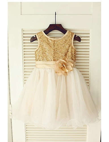 A-Line Tea Length Flower Girl Dress - Tulle Sequined Sleeveless Jewel Neck with Sash / Ribbon Pleats Flower by LAN TING BRIDE®