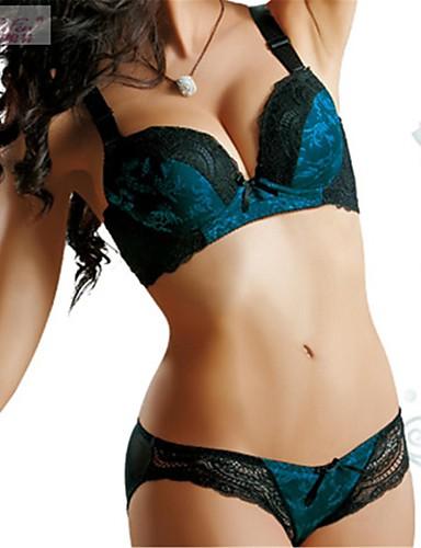 Kvinner En sensasjonell touch Sett med truse og BH BH med bøyler Fôret BH Blonde-BH Dytt opp 5/8-kopp - Ensfarget