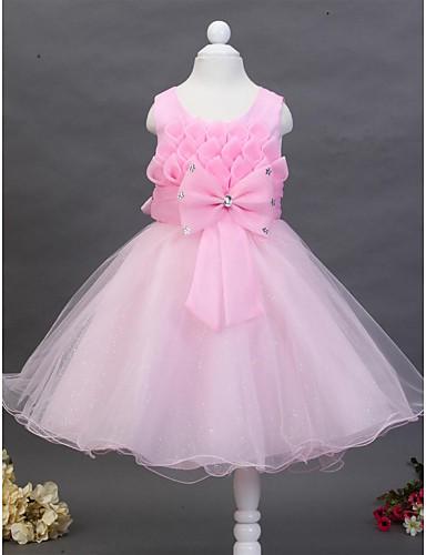 Βραδινή τουαλέτα Μέχρι το γόνατο Φόρεμα για Κοριτσάκι Λουλουδιών - Βαμβάκι / Τούλι Αμάνικο Με Κόσμημα με