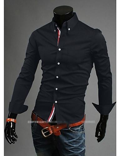 mannen casual shirts effen kleur geweven katoen decoratie beknopte fashion shirt maat m-xxl