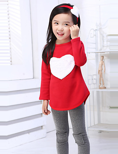 Girls' Clothing Set, Cotton Spring Summer Fall Long Sleeves Red Pink